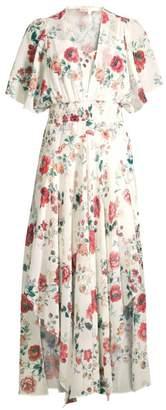Maje Floral Smocked Waist Handkerchief Midi Dress