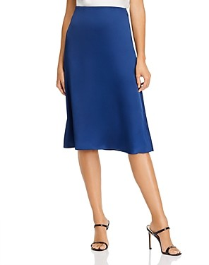 Aqua Satin Midi Slip Skirt - 100% Exclusive