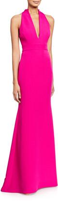 Badgley Mischka V-Neck Column Gown with Cut-In Shoulders