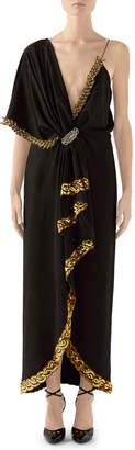 Gucci Naomi Embroidered Asymmetric Silk/Viscose Dress