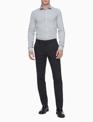 Calvin Klein Slim Fit Grey Check Performance Non-Iron Dress Shirt