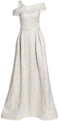 Theia One-Shoulder Jacquard Ball Gown