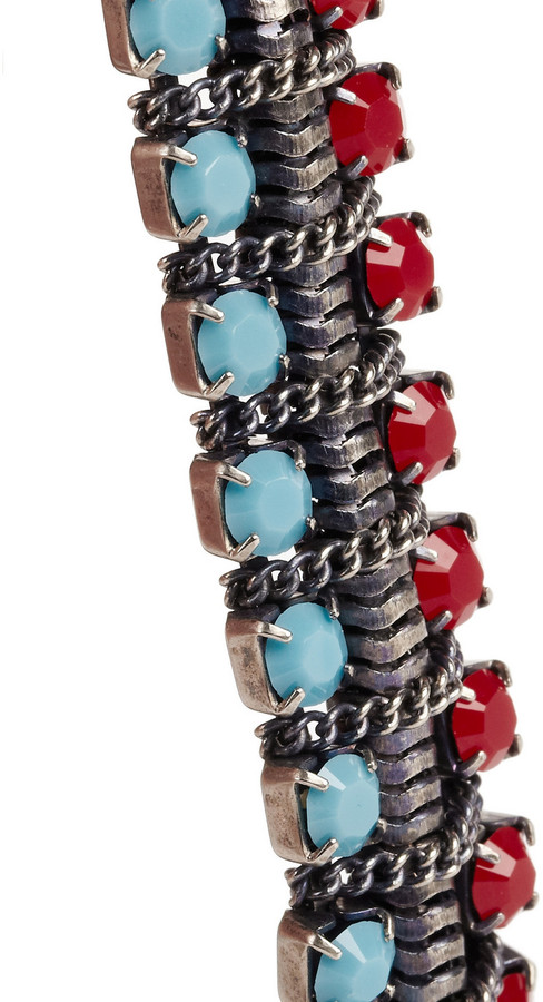 Dannijo Giulia oxidized silver-plated crystal bracelet