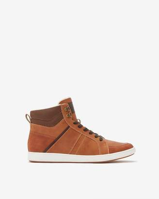 Express Cognac Sherpa Lined High-Top Sneakers