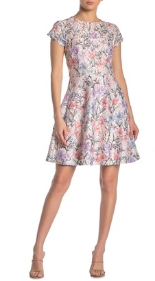 Kensie Floral Scalloped Lace Fit & Flare Dress