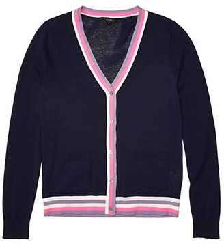 J.Crew V-Neck Cardigan with Stripe Placket (Navy Dusty Orchid Multi) Women's Clothing