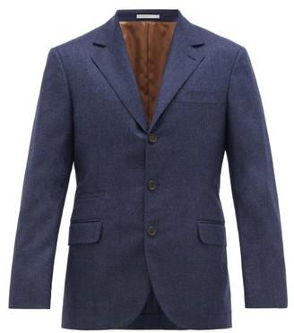 Brunello Cucinelli Single Breasted Pinpoint Wool Flannel Blazer - Mens - Blue