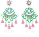 Mercedes Salazar Fiesta Green and Purple Drop Tassel Earrings
