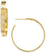 Tory Burch Golden T Logo Hoop Earrings