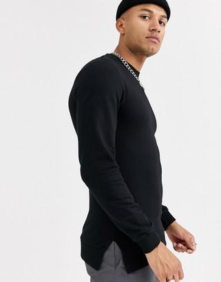 Asos Design DESIGN muscle sweatshirt in black with split hem