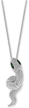 "Effy Diamond (5/8 ct. t.w.) & Emerald (1/20 ct. t.w.) Snake 18"" Pendant Necklace in 14k White Gold"