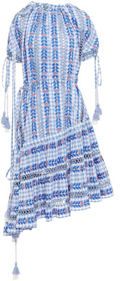 Dodo Bar Or Asymmetric Off-the-shoulder Embroidered Checked Cotton-gauze Dress