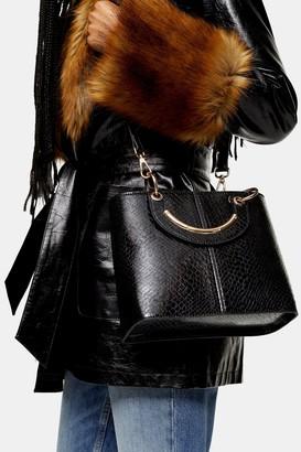 Topshop Womens Rose Crocodile Print Tote Bag - Black