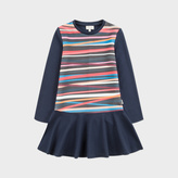 Paul Smith Girls' 7+ Years Navy Dress With 'Stripe Sticks' Print