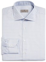 Canali Micro Grid Windowpane Check Regular Fit Dress Shirt