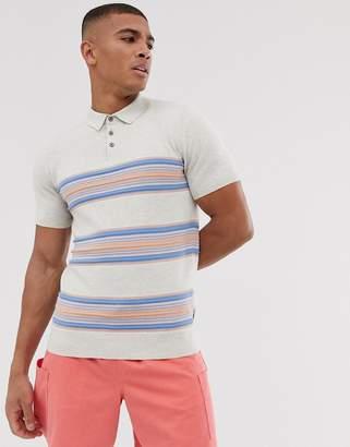 Burton Menswear polo with colour block in ecru-Cream