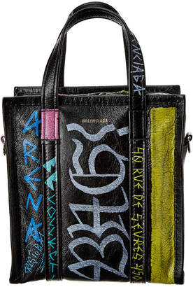 Balenciaga Bazar Xs Graffiti Leather Shopper Tote