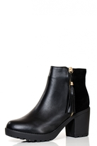 Quiz Black PU And Faux Suede Tassel Detail Ankle Boots