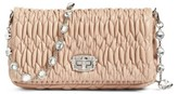 Miu Miu Small Crystal Embellished Nappa Shoulder Bag - Orange