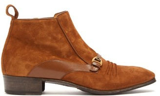 Gucci Moloch Suede Ankle Boots - Mens - Brown