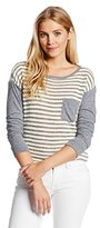C&C California Women's Loose Knit Long Sleeve Crop Pocket Tee