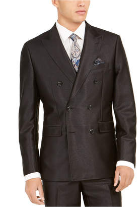 Tallia Men Slim-Fit Black Solid Double-Breasted Suit Jacket