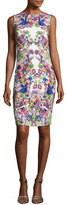 Roberto Cavalli Sleeveless Punto Stoffa Sheath Dress, White/Multi