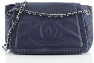 Chanel On the Bund Accordion Flap Bag Leather Large