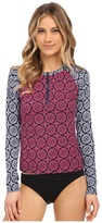 Tommy Bahama Lace Medallion Long Sleeve 1/2 Zip Rashguard Cover-Up