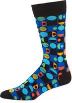 Jared Lang Circular-Print Cotton-Blend Socks, Blue/Black