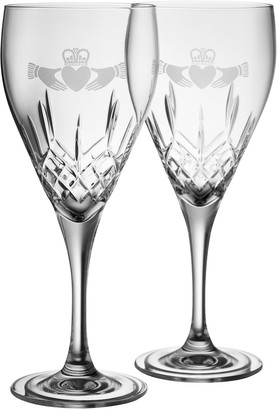Belleek Pottery Claddagh Red Wine Glass Pair
