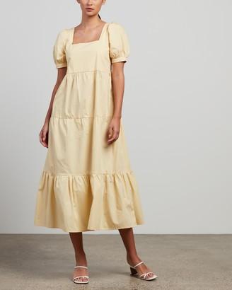 Faithfull The Brand Women's Yellow Midi Dresses - Aylah Midi Dress - Size 6 at The Iconic