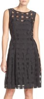 Ellen Tracy Windowpane Check Fit & Flare Dress (Regular & Petite)