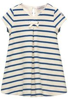Moncler Cap-Sleeve Striped Terry Swing Dress, Blue, Size 4-6