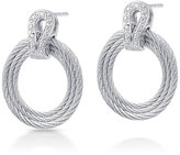 Alor Classique Hoop-Drop Earrings w/ Pave Diamonds, Gray