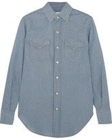 Saint Laurent Polka-dot Cotton-chambray Shirt - Light denim