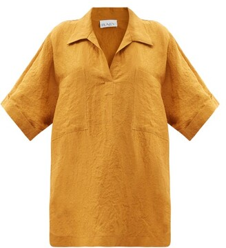 Raey Patch-pocket Linen Smock Top - Bronze