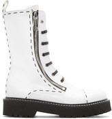 Dolce & Gabbana White Leather Combat Boots
