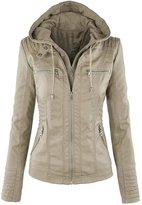 FLOWER FAERIE Women's Springs Hooded Faux leather Jacket Full-Zip Slim Fir Coat