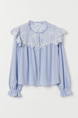 H&M Blouse with Eyelet Embroidery - Blue