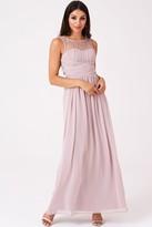 Little Mistress Bridesmaid Grace Mink Embellished Neck Maxi Dress