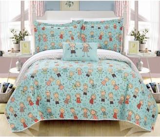Chic Home Zimapan 4 Piece Reversible Quilt Set Happy Kids Theme Printed Design Coverlet Bedding