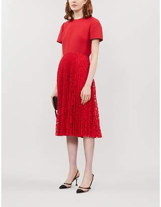 Valentino Lace-panelled wool and silk-blend midi dress