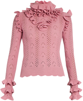 Gucci Ruffle-trimmed pointelle-knit wool sweater