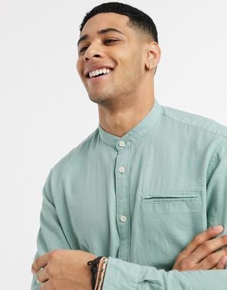 Esprit long sleeve shirt with grandad collar
