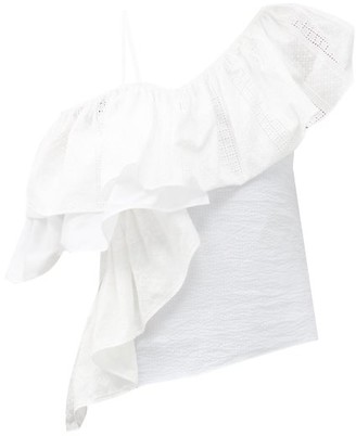 Marques Almeida One-shoulder Ruffled Upcycled-seersucker Top - White