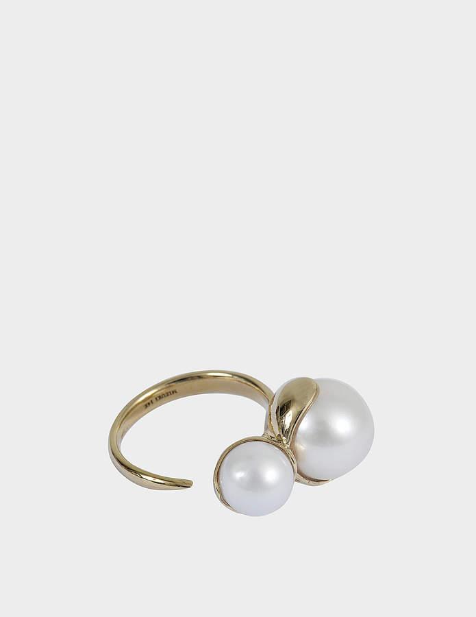 Mizuki Open double fluid gold pearl ring