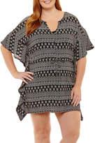 Porto Cruz Pattern Crepe Swimsuit Cover-Up Dress-Plus