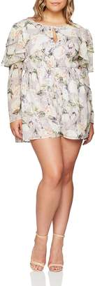 ELVI Women's The Oda Ruffle Sleeve Playsuit in Romantic Floral Print