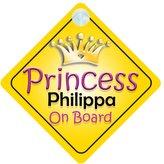 mybabyonboard UK Princess Philippa On Board Girl Car Sign Child/Baby Gift/Present 002